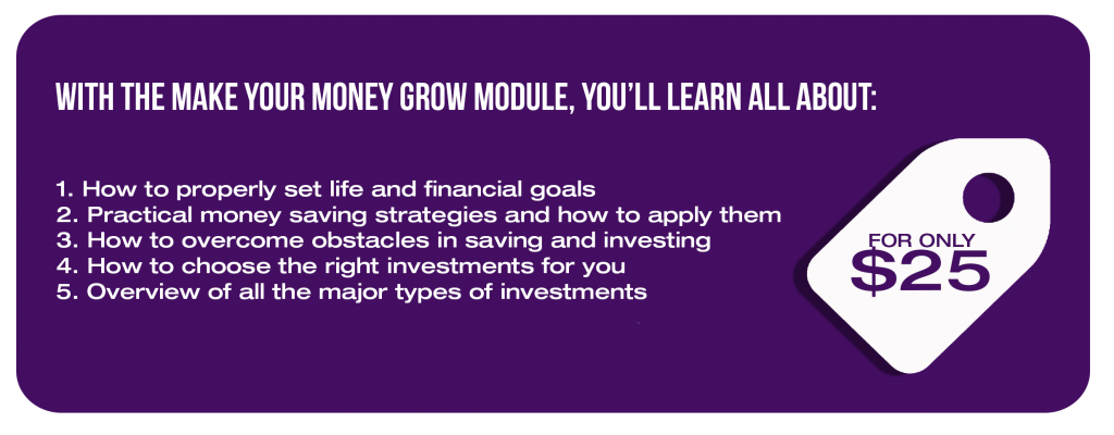 With the Make Your Money Grow module, you'll learn all about: 1. How to properly set life and financial goals 2. Practical money saving strategies and how to apply them 3. How to overcome obstacles in saving and investing 4. How to choose the right investments for you 5. Overview of all the major types of investments