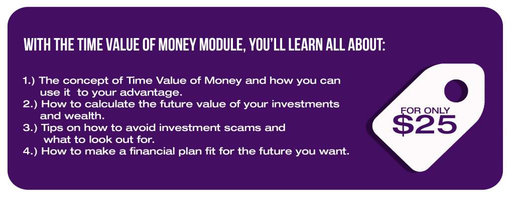 Gain Access:  With the Time Value of Money module, you'll learn all about: 1.) The concept of Time Value of Money and how you can use it  to your advantage 2.) How to calculate the future value of your investments and wealth 3.) Tips on how to avoid investment scams and what to look out for 4.) How to make a financial plan fit for the future you want