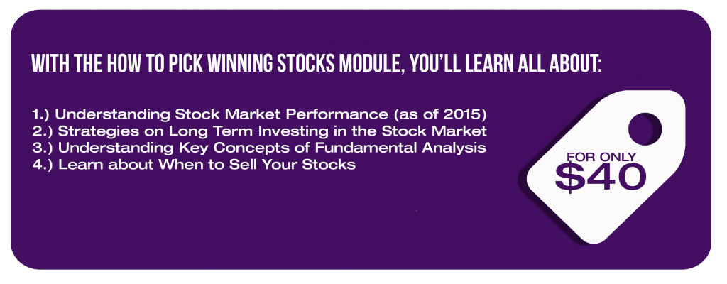 With the How to Pick Winning Stocks module, you'll learn all about: 1.) Understanding Stock Market Performance (as of 2015)  2.) Strategies on Long Term Investing in the Stock Market 3.) Understanding Key Concepts of Fundamental Analysis 4.) Learn about When to Sell Your Stocks